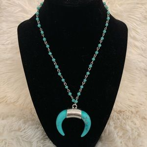 Jewelry - Blue beaded crescent necklace